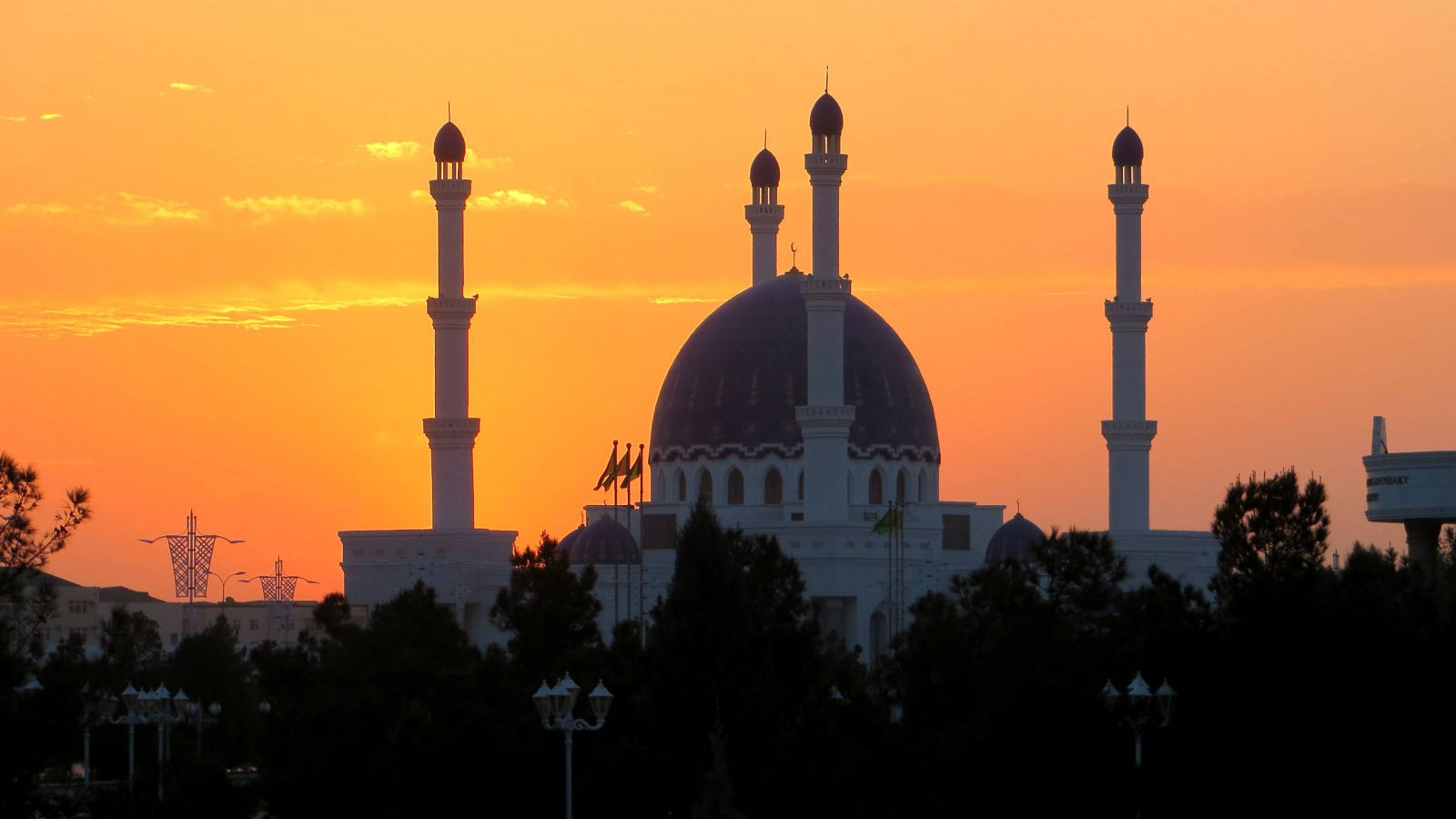 Turkmenistan, Moschee im Abendrot in Mary